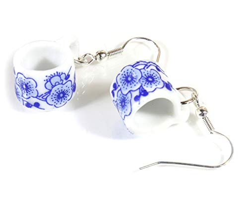 Style ARThouse Time for Tea Porcelain Tea Cup Earrings, Blue and White Patterns (Sakura)
