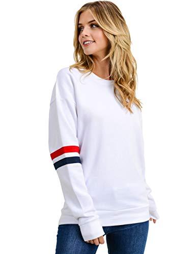 Women's Ultra Soft Fleece Stripe on Sleeves Varsity Solid Sweatshirt, White, Large ()