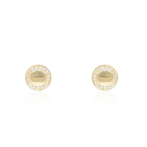 Boucles d'Oreilles Enfant ronde avec zircon Or Jaune 9 Carats