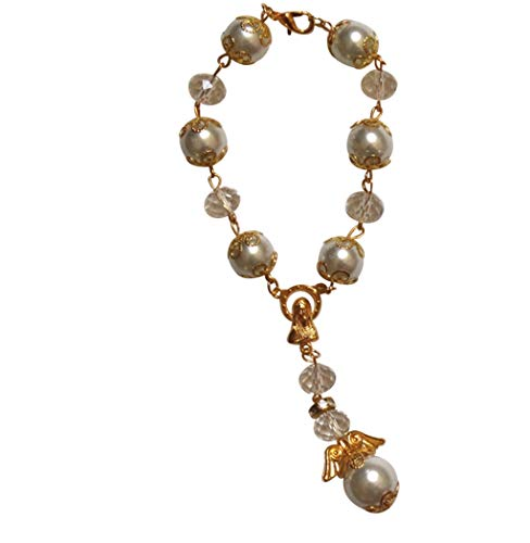 - Classic Style Angel Bracelet Car Rosary or Hanging Religious Charm Alternating Capped Pearls and Clear Glass Beads Silver or Gold Plated Findings Your Choice Includes Blessed Prayer Card (GOLD)