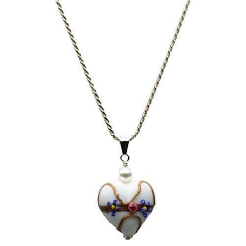 Joyful Creations White Murano-style Glass Heart Pendant Sterling Silver Diamond-Cut Rope Chain Necklace ()