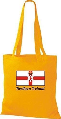 ShirtInStyle Bolso de tela Bolsa de algodón Yute de país Northern Irlanda Irlanda del norte - fucsia, 38 cm x 42 cm amarillo dorado