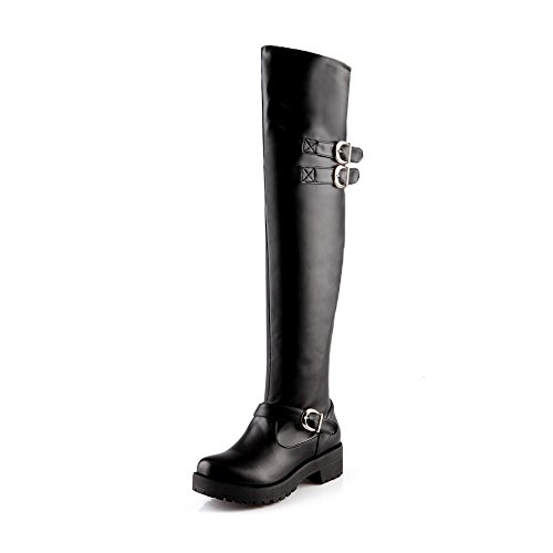 Kaloosh Women's Mid Hell Fashion Buckle Over Knee Martin Boots Shoes Black