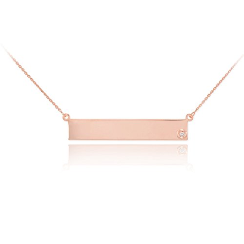 Dainty 14k Rose Gold Engravable Personalized Diamond Bar Necklace for Women, (Diamond Accent Name Necklace)