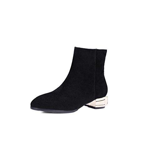 Stivali tacco basso punta di strass scarpe per il tempo libero in pelle donna , 38