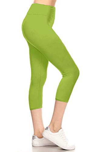 LYCPR128-LIME2 Yoga Capri Solid Leggings, One Size ()