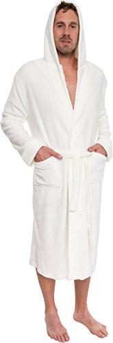 Ross Michaels Mens Hooded Robe - Plush Shawl Kimono Bathrobe (White, XXXL) (Mens Three Quarter Length Coat)