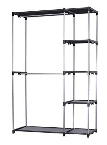 Farberware Durable Metal Frame Freestanding Closet Organizer - Use in or Out of Closet - Double Hanging Rod Clothes Garment Racks with Storage Shelves - No Tools Required