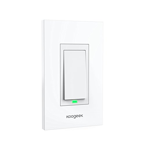 Koogeek Smart WiFi Light Switch for Apple HomeKit with Siri Remote on 2.4Ghz Network, No Hub Required, Single Pole (Require Neutral (Single Wire Module)