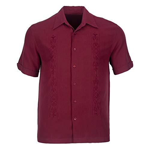 (Blank&Black Men's Woven Short-Sleeved Shirt, Dark Red L)
