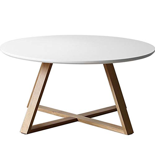 DDDSS Small Table Coffee Table - Log Oak Leg Living Room Coffee Table White Nordic Minimalist Creative Small Apartment Round Coffee Table Multi-Functional Household Items (Color : White)