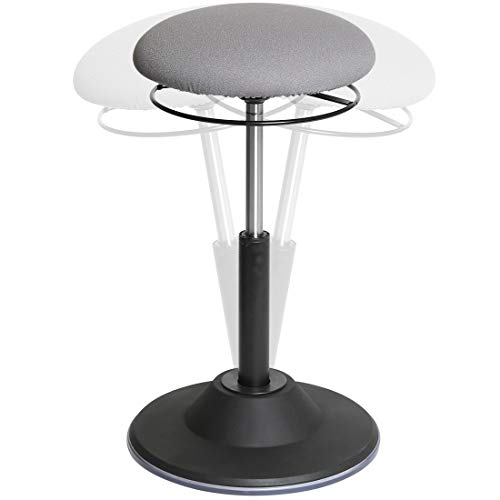 Seville Classics OFF65907 Airlift 360 Sit-Stand Adjustable Ergonomic Active Balance Non-Slip Desk Stool, Gray
