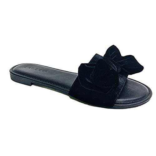 0158a82ea 85%OFF Bamboo Magical-52M Women Velvet Bow Slides Flats Flip Flop Slip On