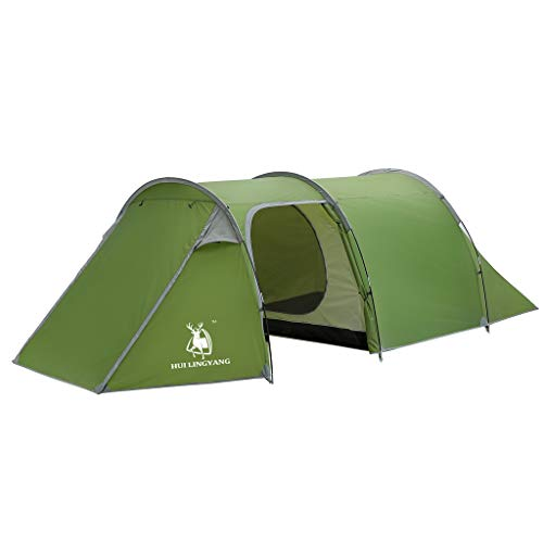 CapsA Tents for Camping 3-4 Person Waterproof Tent with Carry Bag for Backpacking Picnic Hiking Fishing Outdoor Use Double Layer Tunnel Tent (Green)