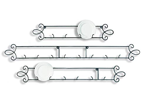Tripar Black Horizontal Plate Rack 3-Place Rack for Collectible Plates and Plaques (Wooden Plate Rack For Wall)