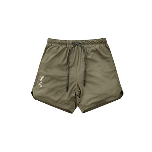 Men's Workout Technology Lightweight Quick Dry Athletic Classic Rugged Comfort Lace Adjustable Short, MmNote Army Green ()