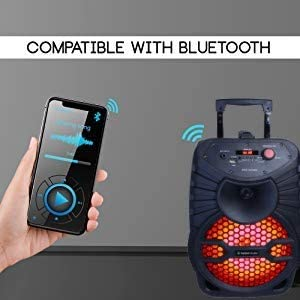 Rich Bass Microphone Included Loud Volume Top Tech Audio Edge-8 Bluetooth Portable Speaker 50 Foot Wireless Range Crystal Clear Stereo Sound Bluetooth Speaker Black