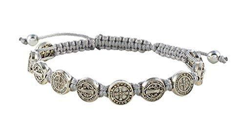 CB Saint St Benedict Medal on Adjustable Cord Bracelet, 8 Inch, Grey