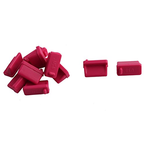 uxcell Silicone Cellphone PC Female End USB Port Cover Cap Anti Dust Protector 10 PCS Red