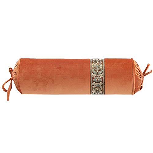 le Candy Pillow Crystal Velvet Cylindrical Pillow Cushion Hand Pillow With Core (Orange) ()