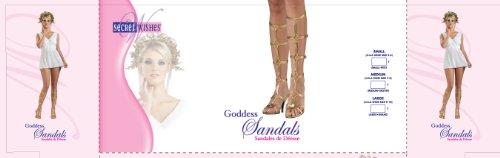 Secret Wishes Goddess Shoes, Gold,  Medium (Size 7-8 US)