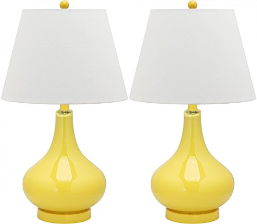 Safavieh Lighting Collection Amy Gourd Glass Table Lamp, Set of 2, Yellow ()