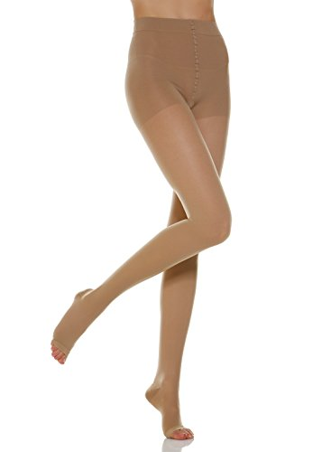 Alpha Medical 20-30 mmHg Compression Pantyhose w/ Open Toe, Graduated Compression & Support Hosiery Fine Italian Made Fashionable Stockings (Size 5 Nude)