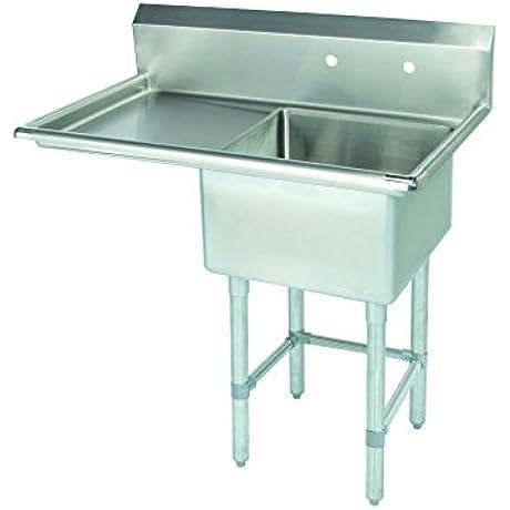 Tarrison CDS118L Heavy Duty 18 Gauge Stainless Steel Single Compartment Corner Drain Sink Left Drain Board 39 Length X 36 47 Height X 27 1 4 Depth