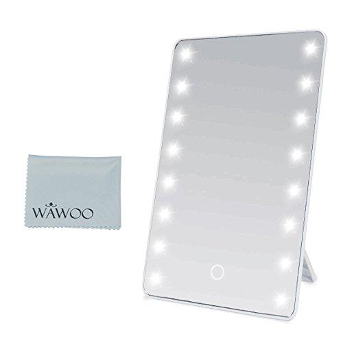Wawoo® Make-up-Spiegel mit LED Beleuchtung Dimmbar durch Touch-Schalter + 16 LEDs + Ultra-High Definition Falterbar Standspiegel Profi Kosmetikspiegel Schminkspiegel Tischspiegel Batteriebetrieben (weiß)