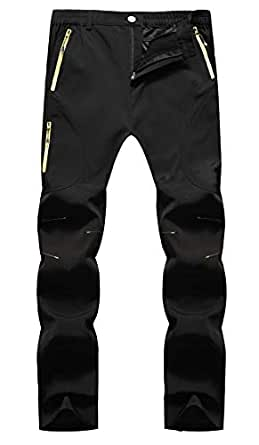 KAISIKE Men's Outdoor Waterproof Hiking Pants Fleece Insulated Ski Pants(05-Fleece-Black-L)