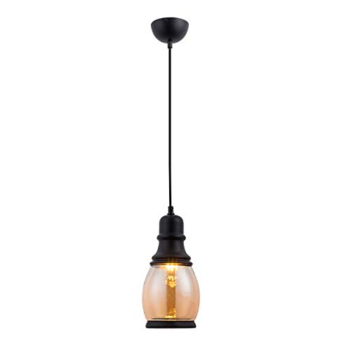 HOGOL Industrial Pendant Light Classic Mason Jar Hanging Lamp Glass Shade Pendant Lighting Adjustable Wire Handmade Chandelier Light Fixture for Kitchen Island, Restaurants, Hotels and Shops(1 ()