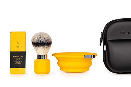 Travel Shaving Brush, Shaving Bowl, and Shaving Cream (Yellow)