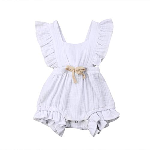 C&M Wodro Infant Baby Girl Bodysuit Sleeveless Ruffles Romper Sunsuit Outfit Princess Clothes (White #2, 12-18 Months) ()