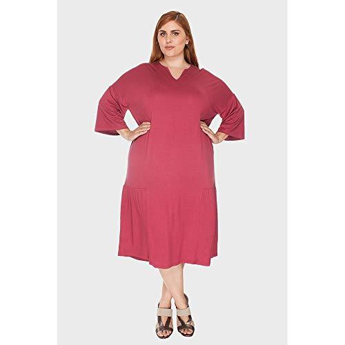 Vestido Recorte Franzido Plus Size Vermelho-46/48