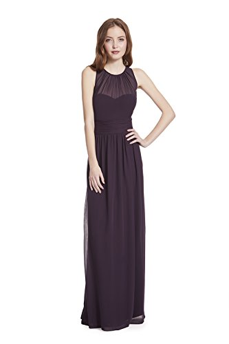 - Samantha Paige Bateau Neckline Illusion Detail Pleated A-Line Chiffon Formal Dress,Plum,14