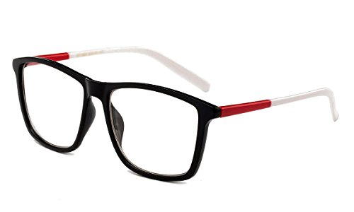 Newbee Fashion - Imperial Slim Design Large Squared Fashion Clear Lens Glasses Red/White