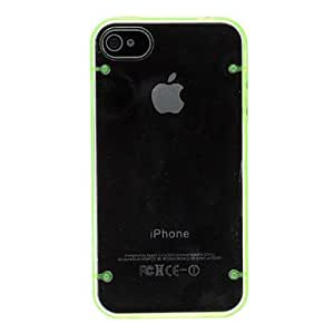 Transparent PC Hard Case with Noctilucent TPU Frame for iPhone 4/4S (Assorted Colors) , Orange