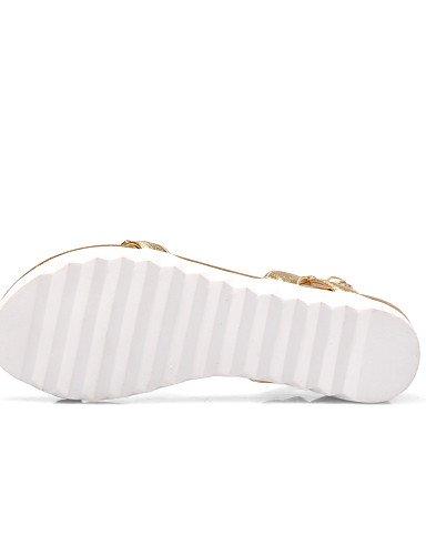 LFNLYX Zapatos de mujer-Plataforma-Plataforma / Gladiador-Sandalias-Oficina y Trabajo / Vestido / Casual-Cuero-Negro / Blanco / Plata / Oro Black
