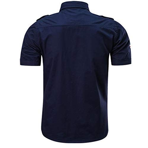 Pour Outillage De Court Manches Chemises Homme Solides Chemise Hauts shirt Casual Malloom Bleu Poche Foncé Élégant Bouton T Militaires Z6w01