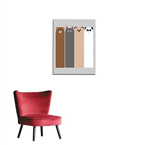 - longbuyer Painting Post Animal Head Set Cartoon Kawaii Baby Bear cat Dog Panda Bookmark Paper Sticker Collection Flat Design Gray Background Mural 16