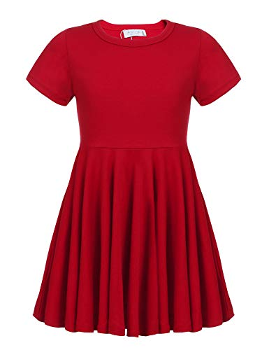 Arshiner Little Girls Short Sleeve A Line Casual Skater Dress Red 160(Age for 14-15Y) -