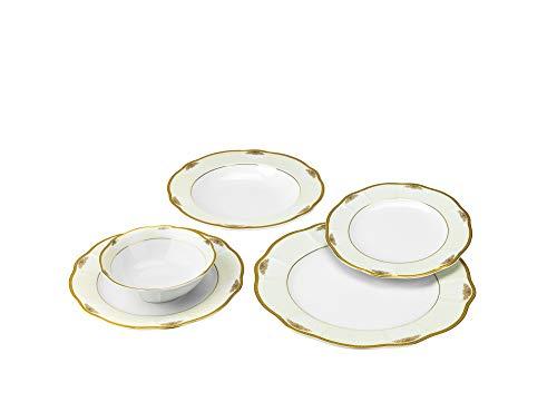 Joseph Seigh GPJULIA-20, 20 Pcs Fine Porcelain Dinnerware Set, Ceramic Dining Table Setting, Bone China Tableware for 4, Set of 20