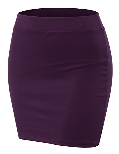 CLOVERY Women's Must-Buy Basic Bodycon Pencil Short Mini Skirt Plum - Denim Plums Skirt