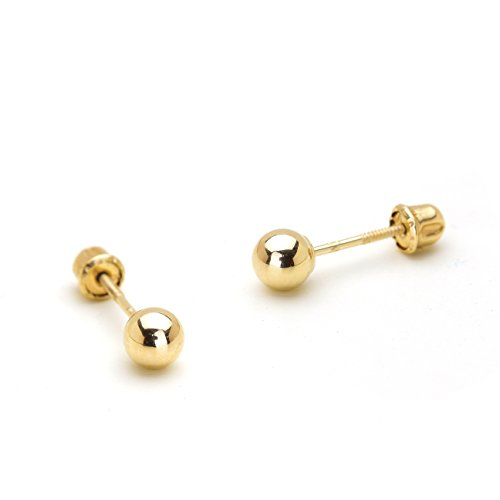 14k Yellow Gold 4mm Plain Hollow Gold Ball Children Screw Back Baby Girls Earrings (Baby Gold Stud)