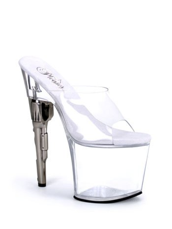 Clear Slip On Gun Heel Stripper Platform Sandal - 11
