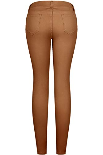 b2534cfd89ea9 2LUV Women's Stretchy 5 Pocket Skinny Distressed Camel Jeans Camel 1 ...