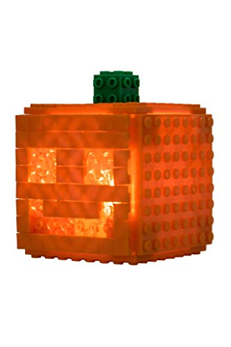 Strictly Briks - Light Up Mini Cube Jack-O-Lantern - Building Bricks & Blocks Set - 100% Compatible with All Major Brands - 79 Piece Halloween Construction Toy - LED Tea Light Included
