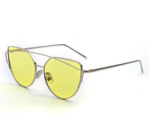 YANQIUYU Stylish Metal Frame Cat Eye Sunglasses for Women Mirrored Flat Lens (Transparent Yellow Lens/Gold Frame, - Eyeglasses Korean