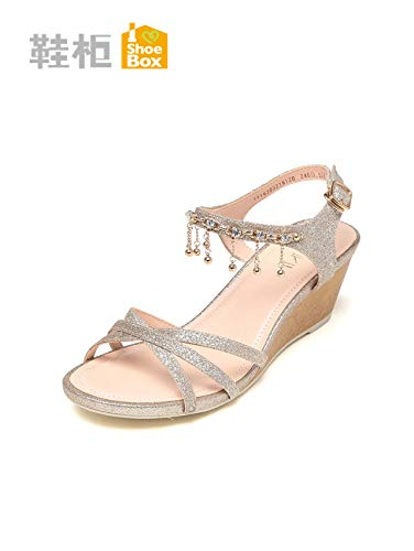 POLPEP summer shoe sequins diamond pendants shoes wedge sandals anklets 1116303216 (gold 120