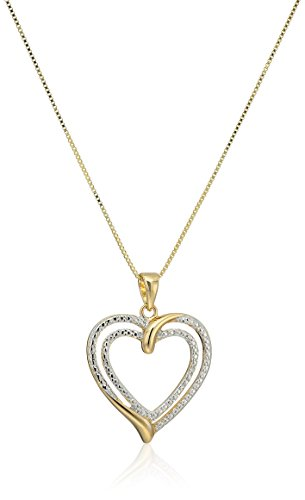 Two-Tone Diamond Accent Two Hearts Pendant Necklace with Yellow Gold Overlay, 18